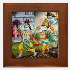 Ganesh and Krishna Framed Tile