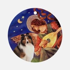 Mandolin Angel & Sheltie 7 Ornament (Round)
