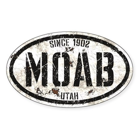 Moab White Black Grunge Sticker (Oval)