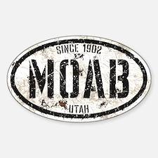 Moab White Black Grunge Sticker (Oval)