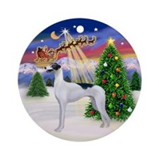 Santa's Take Off & Greyhound (BW) Ornament (Round)