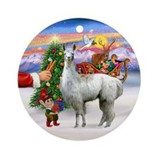 Santa's Treat for his Llama Ornament (Round)