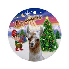 Santa's Take off with a Llama Ornament (Round)