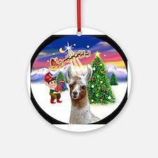 Santa's Take off with a Llama Ornament (Round)