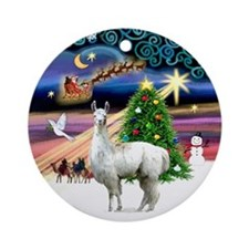Christmas Magic with a Llama Ornament (Round)