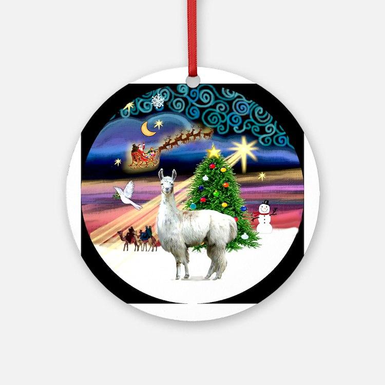 Christmas Magic with a Llama Ornament (Round)