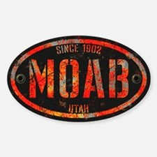 Moab Grunge Rivet Red Sticker (Oval)