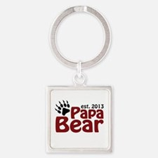 Papa Bear New Dad 2013 Square Keychain