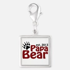 Papa Bear New Dad 2013 Silver Square Charm