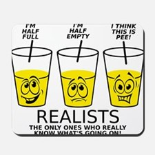 Glass Half Full Empty Pee Funny T-Shirt Mousepad
