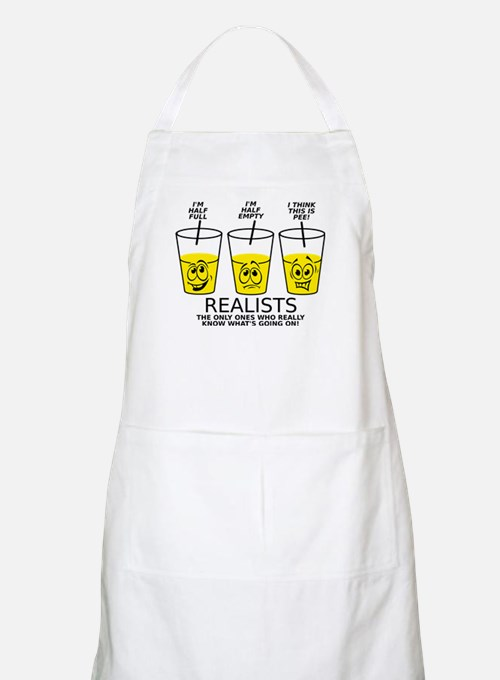 Glass Half Full Empty Pee Funny T-Shirt Apron