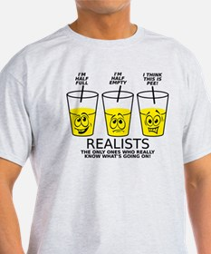 Glass Half Full Empty Pee Funny T-Shirt T-Shirt