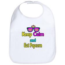 Crown Sunglasses Keep Calm And Eat Popcorn Bib