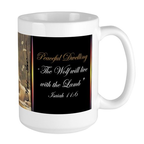 """Peaceful Dwelling"" Fine Art Wolf Large Mug"