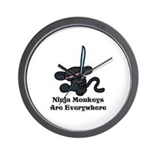 Ninja Monkey Kick Wall Clock