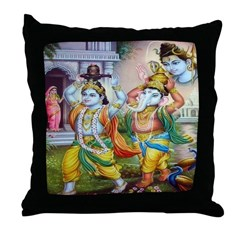 Ganesh and Krishna Throw Pillow