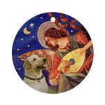 Mandolin Angel & Yellow Lab Ornament (Round)