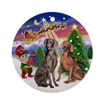 Santa's Take Off & 2 Weimaraners Ornament (Round)