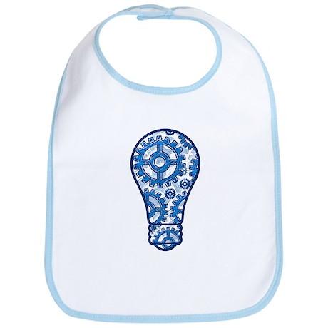 Blue gears light bulb Bib