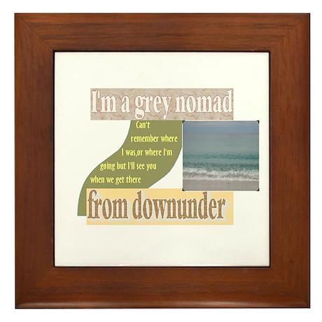 grey nomad funny Framed Tile