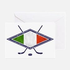 hockey su Ghiaccio Italiano Flag Greeting Card