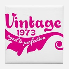 Aged to perfection 1973 pink design Tile Coaster