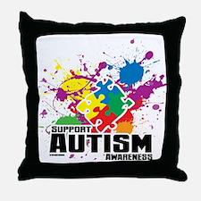 Autism Paint Splatter Throw Pillow