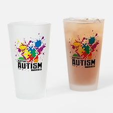 Autism Paint Splatter Drinking Glass