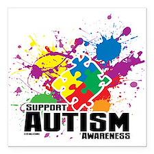 """Autism Paint Splatter Square Car Magnet 3"""" x 3"""""""
