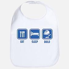 Eat Sleep Build design in Blue Bib
