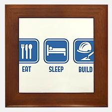 Eat Sleep Build design in Blue Framed Tile
