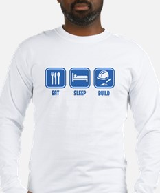 Eat Sleep Build design in Blue Long Sleeve T-Shirt