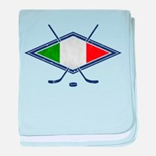 hockey su Ghiaccio Italiano Flag baby blanket