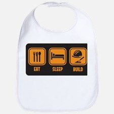 Eat Sleep build in orange with black background Bi