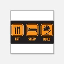 Eat Sleep build in orange with black background St