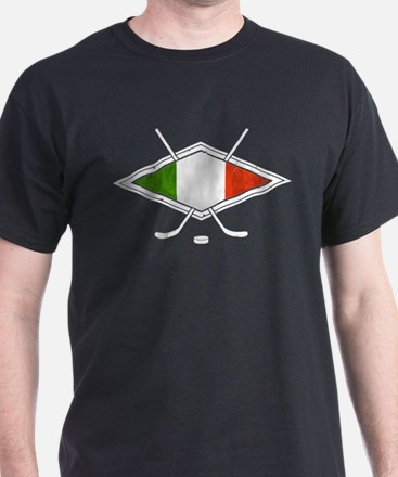 hockey su Ghiaccio Italiano Flag T-Shirt