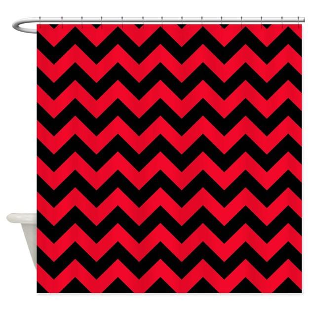 Red Chevron Cafe Curtains