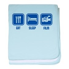 Eat Sleep Film design in blue baby blanket