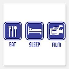 "Eat Sleep Film design in blue Square Car Magnet 3"""