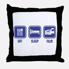Eat Sleep Film design in blue Throw Pillow