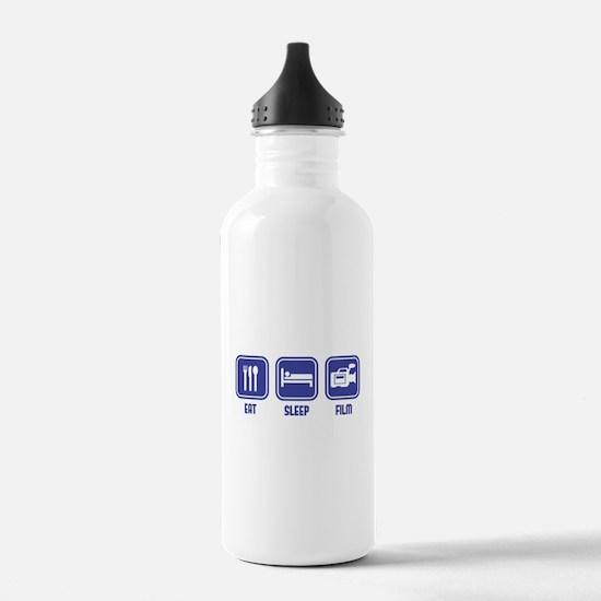 Eat Sleep Film design in blue Water Bottle
