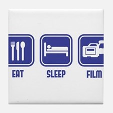 Eat Sleep Film design in blue Tile Coaster