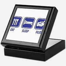 Eat Sleep Film design in blue Keepsake Box
