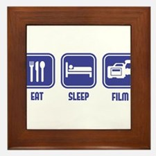 Eat Sleep Film design in blue Framed Tile