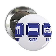 """Eat Sleep Film design in blue 2.25"""" Button"""