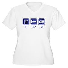 Eat Sleep Film design in blue Plus Size T-Shirt