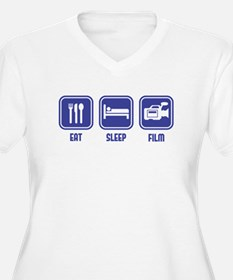 Eat Sleep Film design in blue Plus Size T-Shirt