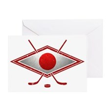 Japanese Ice Hockey Flag Greeting Card
