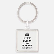 Keep calm and pray for boston Square Keychain