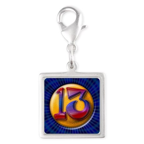 Lucky 13 Silver Square Charm